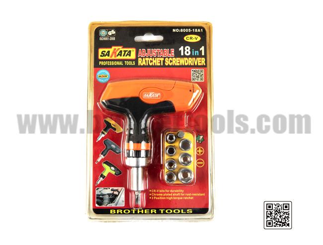 Destornillador de trinquete ajustable 18in1